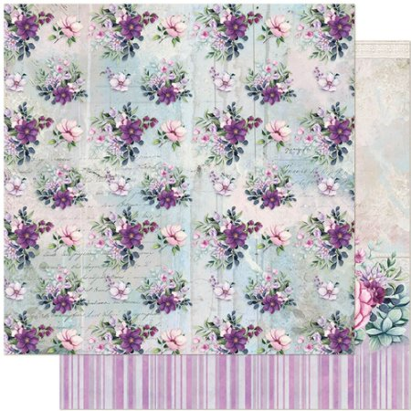 Papel SD-1144 Flores Vintage Lilás - dupla-face - Litoarte