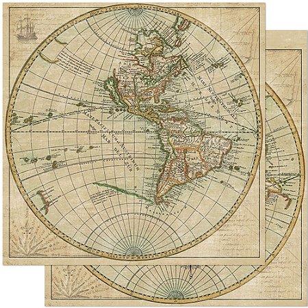 Papel SD-0890 Mapa mundi Antigo- Viagem - dupla-face  - Litoarte