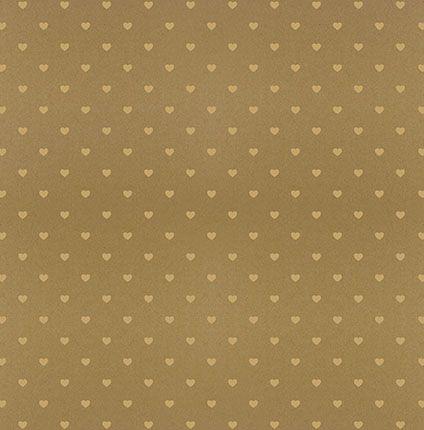 Papel SH30-048 marrom com corações com foil dourado  - Litoarte