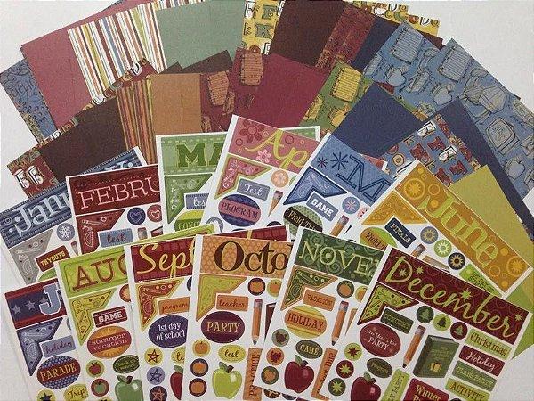 Kit de papéis e adesivos pequeno - Scholl - Escola - Karen Foster