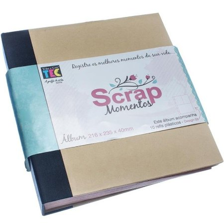 Álbum de scrapbook Scrap Momentos - Preto e Kraft - Toke e Crie