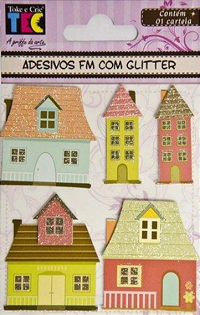 Adesivos FM com glitter feitos à mão 3D - Casas - Toke e Crie