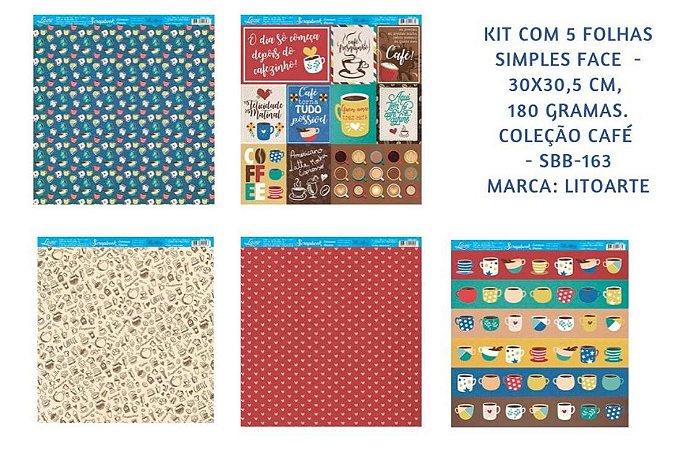 Kit com 5 papéis de scrapbook Café - face única- Litoarte