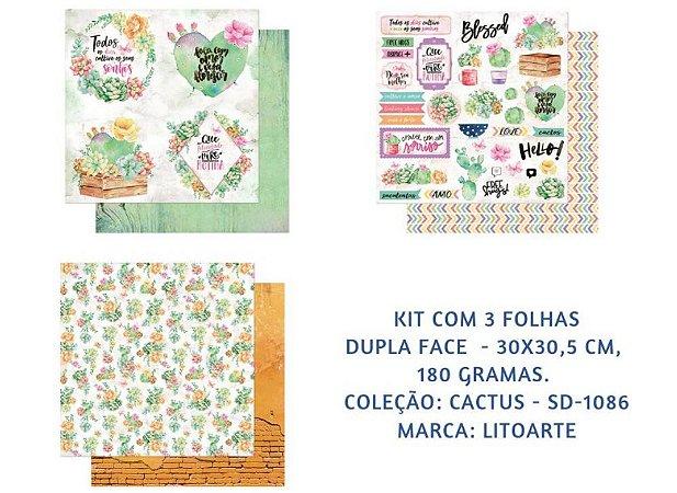 Kit com 3 papéis de scrapbook Cactos - Dupla-face- Litoarte