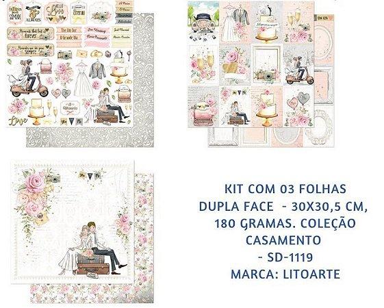Kit com 3 papéis de scrapbook Casamento - Dupla-face- Litoarte