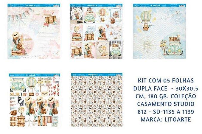 Kit com 5 papéis de scrapbook Viagem - Estudio 812 - Dupla-face- Litoarte