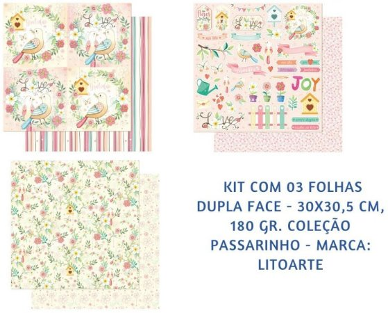Kit 3 papeis 30x30 Rústico Passarinhos dupla-face- Litoarte