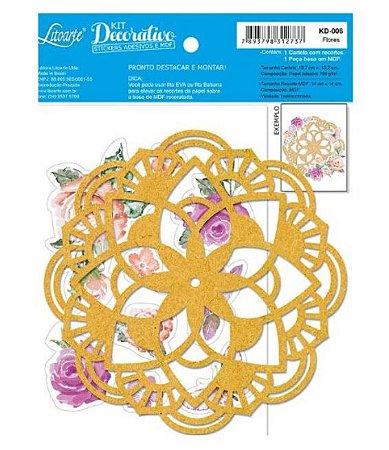 Kit decorativo KD006 Mandala + cartela de adesivos Flores de Aquarela - Litoarte