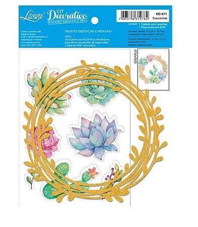 Kit decorativo KD011 Guirlanda + cartela de adesivos Suculentas - Litoarte
