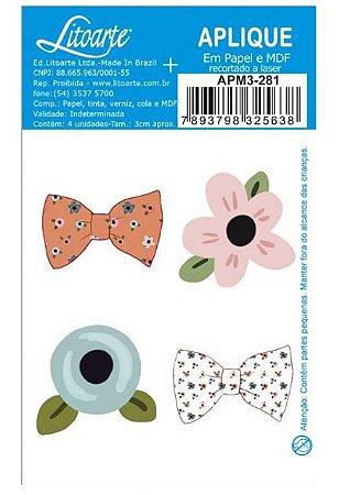 Aplique em MDF Flores e Laços coleção Aconchego APM3-281 - Litoarte
