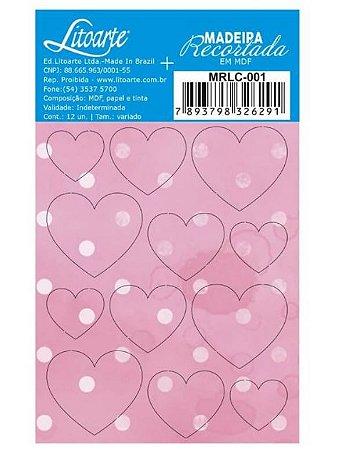 Cartela de MDF recortado Corações Rosa - MRLC-001 - Litoarte