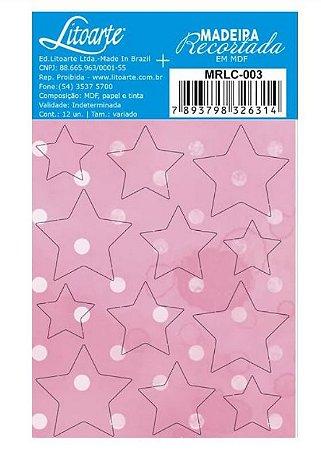 Cartela de MDF recortado Estrelas Rosa- MRLC-003 - Litoarte