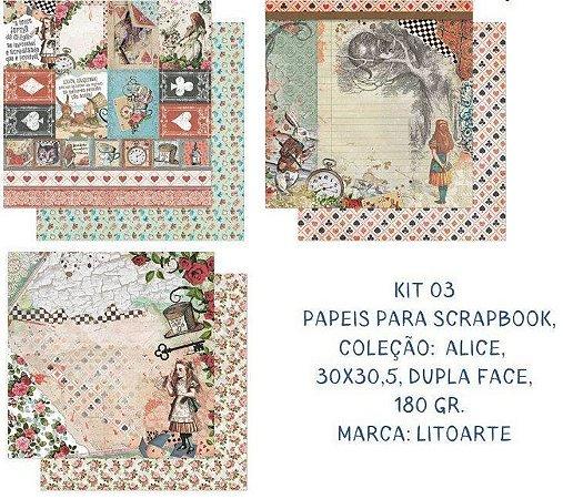 Kit com 3 papéis de scrapbook Alice - Dupla-face- Litoarte