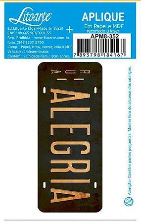 Aplique em MDF Alegria -  APM8-352 - Litoarte