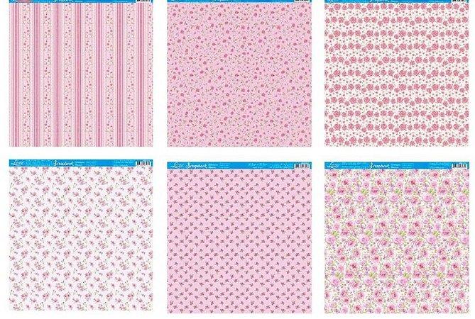 Kit com 6 papéis de scrapbook Tons Rosa Floral - Face única- Litoarte