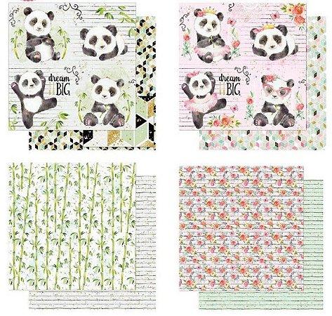 Kit com 4 papéis de scrapbook Pandas - Dupla-face- Litoarte