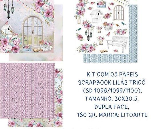 Kit com 3 papéis de scrapbook Lilás Tricô - Dupla-face- Litoarte