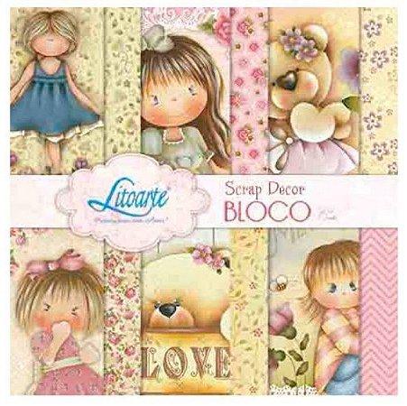 Bloco de papéis scrapbook 15x15 cm - Cute meninas - SBXV-005 - Litoarte