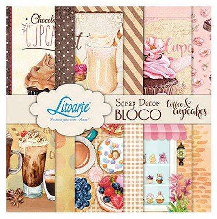 Bloco de papéis scrapbook 15x15 cm - Coffee e cupackes - SBXV-021 - Litoarte