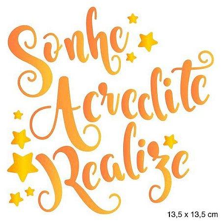 Stencil STA-107 - Natal - Sonhe, acredite, realize - Litoarte