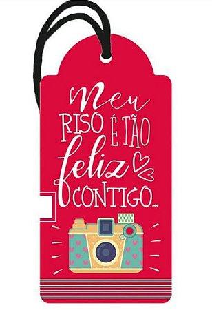 Tag decorativa em MDF com tira de camurça - Meu riso - DHT2-070 - Litoarte
