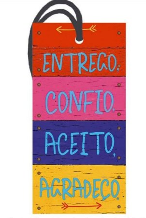 Tag decorativa em MDF com tira de camurça - Entrego,confio - DHT2-010 - Litoarte