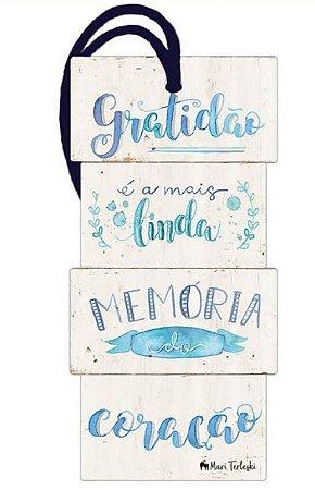 Tag decorativa em MDF com tira de camurça - Gratidão - DHT2-151 -  Litoarte