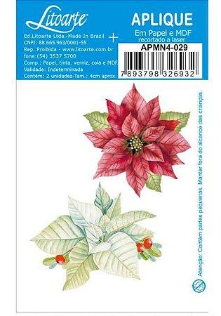 Aplique em MDF Natal - Flores Poinsettia- APMN4-023 - Litoarte