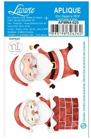Aplique em MDF Natal - Doce Natal - Papai Noel - APMN4-025 - Litoarte