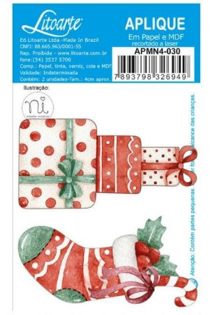 Aplique em MDF Natal - Doce Natal - Bota vermelha - APMN4-024 - Litoarte