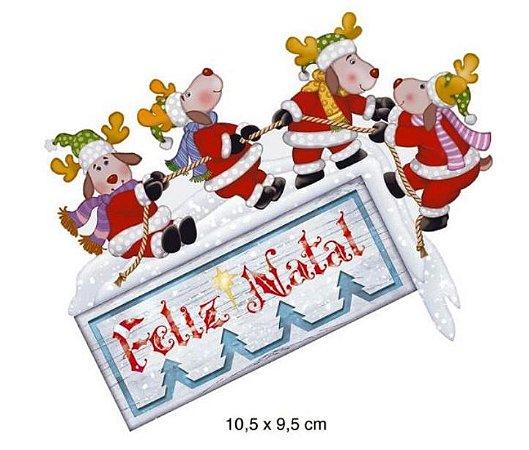 Aplique em MDF Natal - Renas Feliz Natal - APMN10-006 - Litoarte