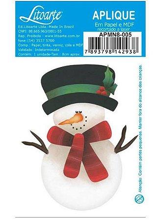 Aplique em MDF Natal - Boneco de neve - APMN8-005 - Litoarte