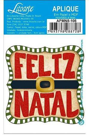 Aplique em MDF Natal - Feliz natal Tag quadrada - APMN8-108 - Litoarte