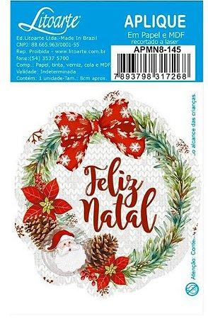 Aplique em MDF Natal - Feliz Natal Guirlanda- APMN8-145 - Litoarte