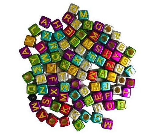 Kit letrinhas, miçanga quadrada colorida com dourado - 15g - Nacional