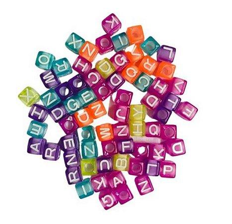 Kit letrinhas, miçanga quadrada colorida transparente - 15g - Nacional