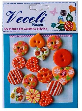 Kit botões Laranja, com 15 botões sortidos - Veceli Botões