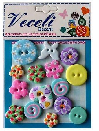 Kit botões Colorido claro, com 15 botões sortidos - Veceli Botões