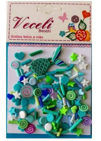 Kit mini apliques granulado PVC - Azul sereia - Veceli Botões