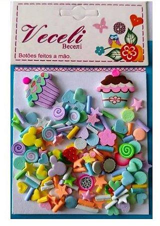 Kit mini apliques granulado PVC - Colorido Cupcake - Veceli Botões