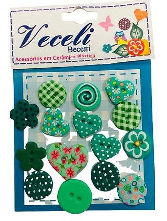 Kit botões Verde, com 15 botões sortidos - Veceli Botões