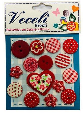 Kit botões Vermelho, com 15 botões sortidos - Veceli Botões