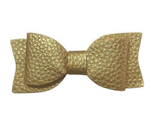 Aplique Laço de couro sintético Dourado - Art e Montagem