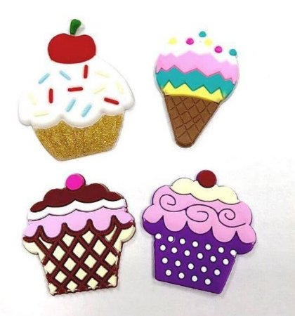 Kit apliques emborrachados cupcake e sorvete - Importado