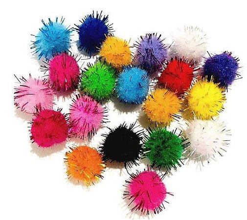 Kit pompom colorido com cabelo sortido  - Importado