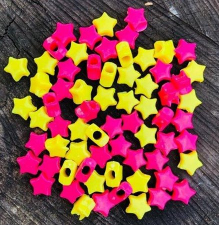 Kit estrelinhas leitosa 6mm pink e amarelo - Importado