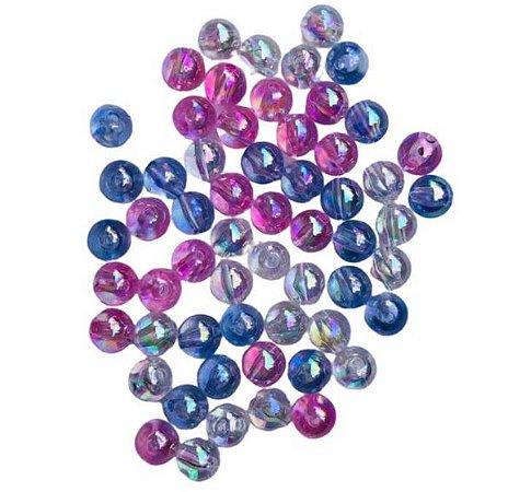 Kit bolinhas acrilico irisada transparentes, azuis e rosa - Importado