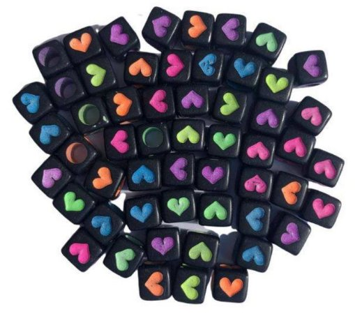 Kit miçangas, preto e neon, corações quadrado - Importado