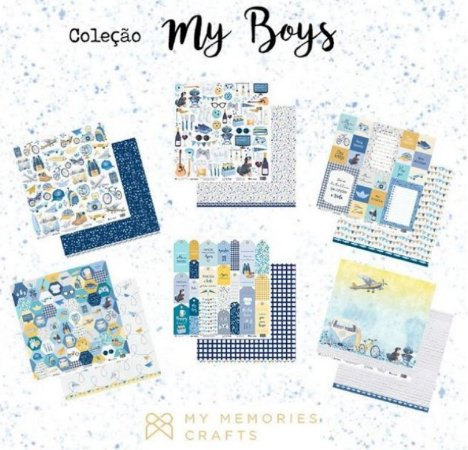 Kit 6 papeis de scrapbook Menino - My Boys - My Memories Crafts