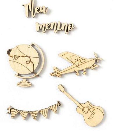 Kit de madeirinhas adesivadas Menino - My Boys - My Memories Crafts
